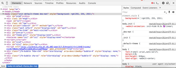 Screenshot of Chrome Developer Tools