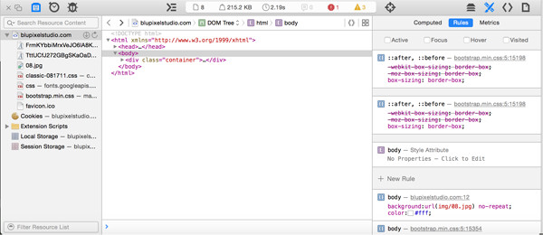 Screenshot of Safari Developer Console