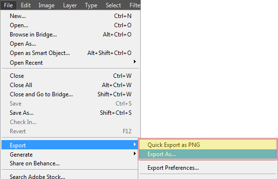 Export As Menu